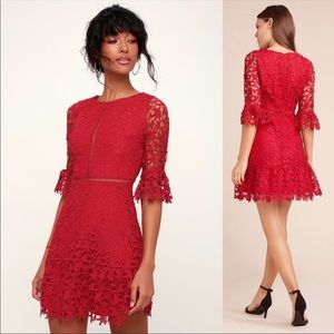 BB Dakota RSVP In The Moment Red Lace Dress
